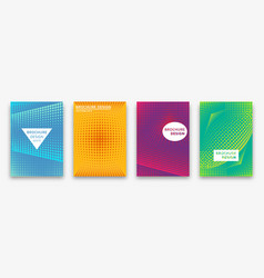 Brochure design with halftone dots and neon vector