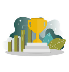 business success - golden winner cup concept of vector image