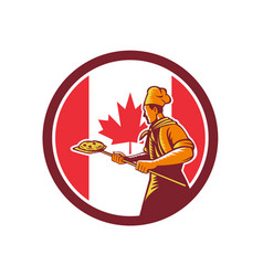canadian pizza baker canada flag icon vector image