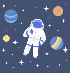 cartoon character cosmonaut on cosmic travel vector image