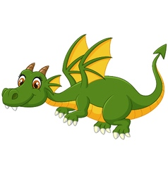 Cartoon green dragon flying vector
