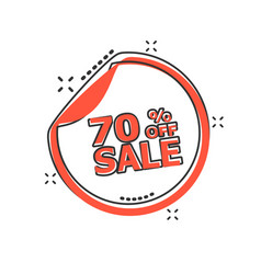 Cartoon sale sticker 70 percent off icon in comic vector