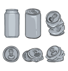 cartoon set blank gray can vector image
