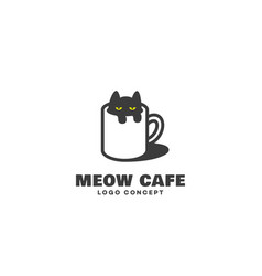 Cat cafe logo vector