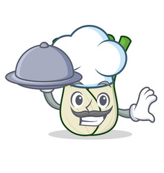 Chef with food fennel mascot cartoon style vector