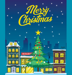 christmas design with city in the night vector image