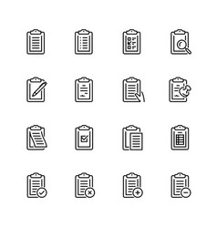 clipboard icon set in thin line style vector image