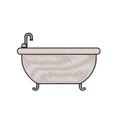 Colored crayon silhouette of bathtub icon vector
