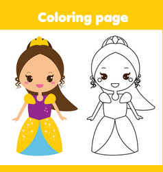 Coloring page with cute princess educational game vector