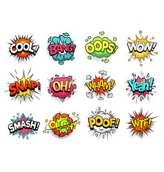 Comic sign clouds boom bang wow and cool speech vector