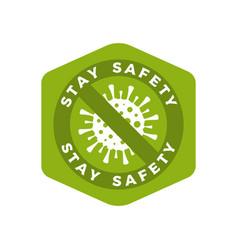 coronavirus caution green badge covid-2019 safety vector image