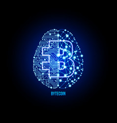 crypto currency bytecoin on brain background vector image