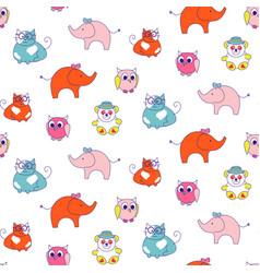 cute animals kids seamless pattern child zoo vector image