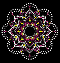 Dot art ethnic mandala traditional design vector
