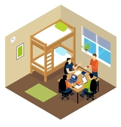 Education Student Isometric Composition vector