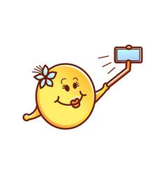 female smiley face emoticon making selfie vector image