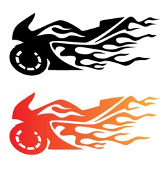 Flaming Sport Bike Motorcycle Logo vector image