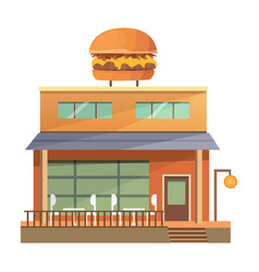 Flat commercial restaurant building vector