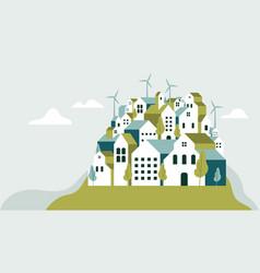 Flat geometric buildings eco city landscape vector