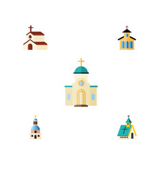 Flat icon building set of religious church vector
