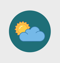 flat sun and cloud weather web icon vector image
