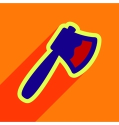 Flat with shadow Icon Axe on a colored background vector