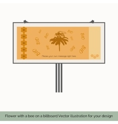 Flower with a bee on a billboard to vector image