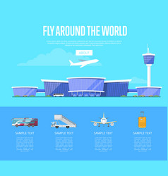 Fly around the world concept for airline vector