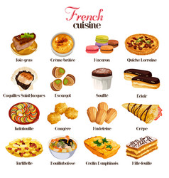 French cuisine icons vector