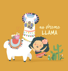 funny llama alpaka with cute mexican girl vector image
