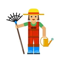 Gardener man worker with sprinkle and rake manual vector