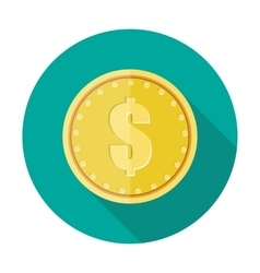 Gold coin icon with dollar currency symbol vector image