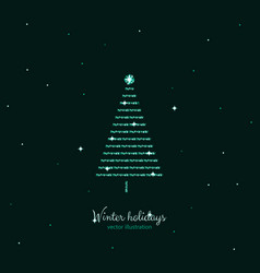 Green shine holidays tree with stars background vector