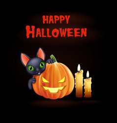 Halloween background with black cat and pumpkin vector