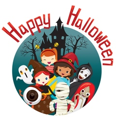 Halloween Ghosts and Children Smiling vector image