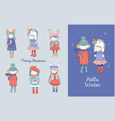 Hand drawn beautiful cute little winter girls vector