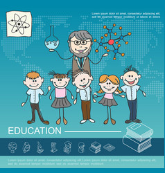 Hand drawn school education template vector