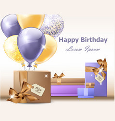 happy birthday balloons party invitation vector image