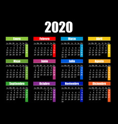 horizontal color pocket calendar on 2020 year vector image