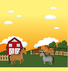 horses in the farm scene vector image