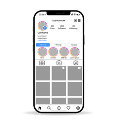 Instagram mockup main account page vector