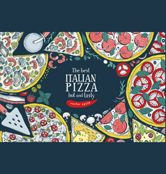 Italian pizza top view colorful frame a vector