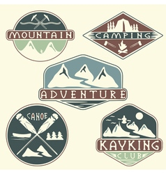Kayaking campingclimbing and adventure vintage vector