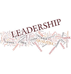 Leadership qualities text background word cloud vector