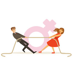 Man and woman in red dress pulling a rope vector