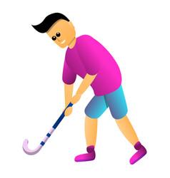 man play field hockey icon cartoon style vector image