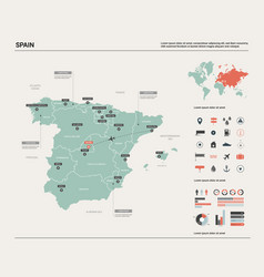 Map spain high detailed country vector