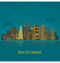 Modern big city night landscape with reflection in vector image