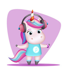 modern girl unicorn headphones listen music vector image