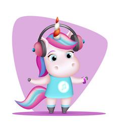 Modern girl unicorn headphones listen music vector